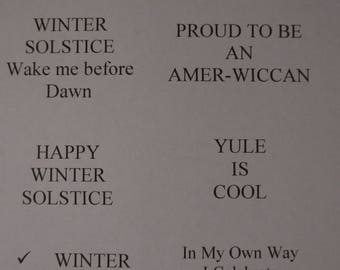Wiccan/Pagan Winter Solstice and other phrases, Window Cling Film