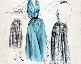 1950s Skirt with Attached Halter Top Pattern Vogue 7375 Vintage Sewing Pattern Gathered Skirt & Backless Halter Neck Top Waist 28 Hip 37