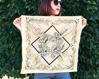 Prairie Hands Bandana- Screen Printed Scarf