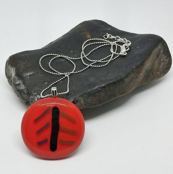 Red Leaf Glass Pendant with Silver Chain
