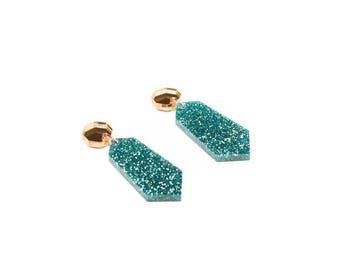 Glitter earrings - Teal and gold geometric gem drops - acrylic glitter drop earrings - laser cut earrings - kookinuts - Hypoallergenic