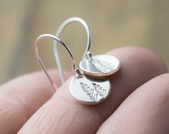 Tiny Hand Stamped Tree Earrings Sterling Silver | Summer Outdoors Nature Jewelry Gift | Small Silver Dangle Earrings | Jewellery By Burnish