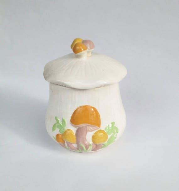 Vintage 1970's Ceramic Jar with Mushrooms by Arners