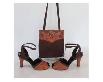 Vintage 40's 50's Tooled Leather Brown Suede Peep Toe Heels Matching Handbag Purse 8
