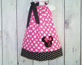 Minnie Mouse Birthday Pillowcase Dress / Pink & Black Dots / Personalized / Disney / Cake Smash / Infant / Baby / Girl / Toddler / Boutique