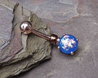 Blue Opal Rose Gold Belly Button Jewelry Ring Prong Set
