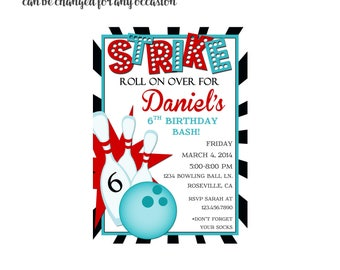 Strike, Bowling Party Invitation 4x6 or 5x7 digital you print your own- Design 148