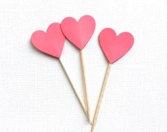 24 Dark Coral Heart Cupcake Toppers, Party Decor, Double-Sided, Weddings, Showers