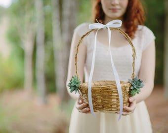 Rustic Basket | Succulent Greenery | Flower Girl Basket | Gift for Girl | Single Basket | Flower Girl Gift | Keepsake Gift | Wedding Basket