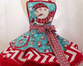 Christmas Apron In Snowman print In Aqua and Red, Ready To Ship