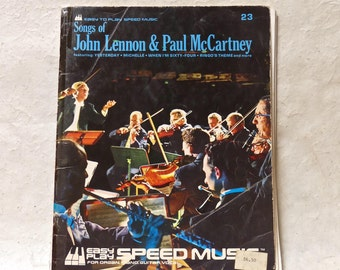 Vintage Retro Music Booklet Songs of Lohn Lennon & Paul McCartney Easy to Play Speed Music