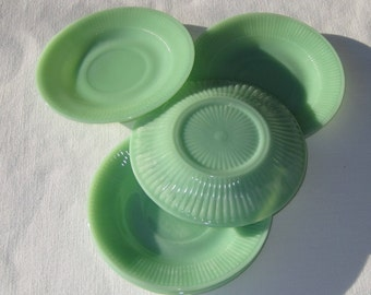 5 Jadeite Saucers, Set of Five Jadeite Plates, Jeanette