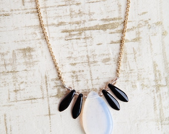 White Teardrop Necklace, White, Teardrop Necklace, White Gold Necklace, Dagger Necklace, Gift for Her, Bees and Buttercups, Boho, Moonlit