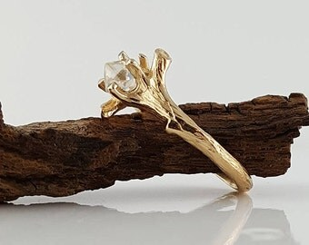 NEW! 14k Yellow/White or Rose Gold Raw Uncut Rough Twig Diamond (Solitaire Only) Engagement Ring, by Dawn Vertrees