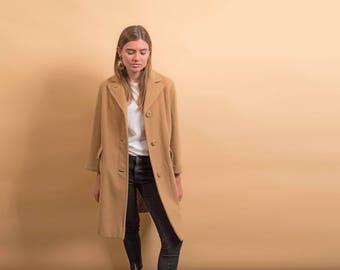 60s Mod Camel Coat / 1960s Wool Coat / Minimalist Tan Coat / Straight Coat Δ fits sizes: XS/S
