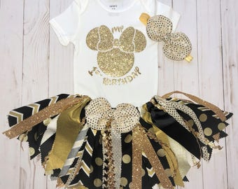 Minnie Mouse First Birthday Outfit,Fabric Tutu Set,Minnie Black and Gold Tutu,Cake Smash Outfit,Baby Girl 1st Minnie Birthday, Tutu 3pc Set