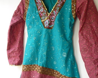 tunic top emerald turquoise brown dusty pink embroidered sequined bust 29 petite or teenage girls