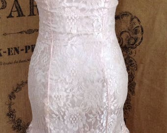 Pink lace tulle tea length gown