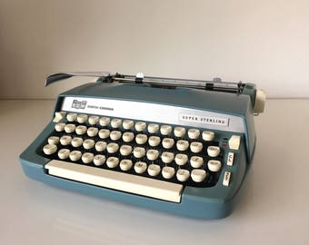 Blue Smith Corona Super Sterling Manual Typewriter in Case