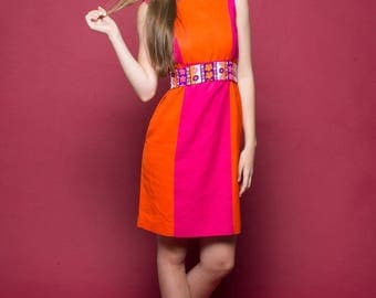 80s Color Block Dress / Mod Dress / 1960s / Orange Fuschia / Size S/M