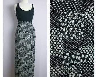 Vintage Patchwork Print Black + White Maxi Wrap Skirt L