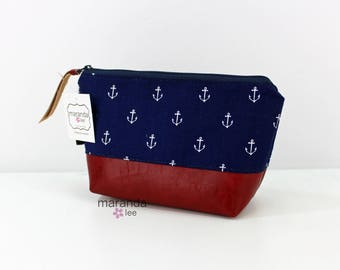 AVA Small Clutch - Navy Anchors with PU Leather  READY to SHIp Cosmetic Toiletries bag Travel Make Up Zipper Pouch