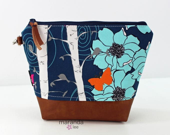 AVA Medium Clutch - Floral Aspen with PU Leather READY to SHIp