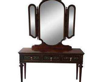 Imperial Brass Sidetable and Mirror