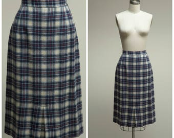 Vintage 50s Skirt • Perfectly Plaid • Red Blue Wool 50s Vintage Skirt Size Small