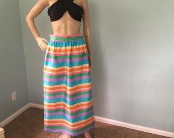 1970s MultiColored Striped Maxi Skirt