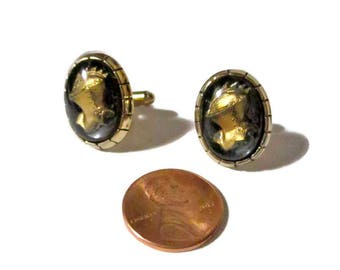 Intaglio CuffLinks Medieval Knight  Hickok Glass 1960s  Fathers Day Groom