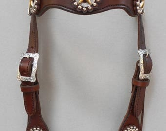 Texas Star Concho and Rosettes Headstall