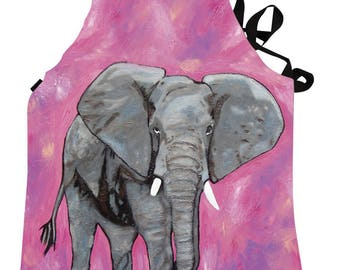 Elephant Apron by Salvador Kitti -  Support Wildlife Conservation, Read How - From My Painting, Kelly