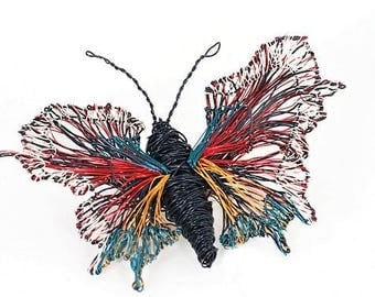 Black butterfly brooch Wire sculpture art jewelry Colorful jewelry Boho Winter Statement jewelry Large brooch Creative gift Art teacher gift