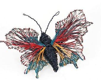 Black butterfly brooch, wire sculpture art, modern boho, winter, statement, colorful jewelry, large brooch, creative, art teacher gift women