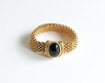 Vintage 80's Black Cabochon & Gold Mesh Magnetic Bracelet