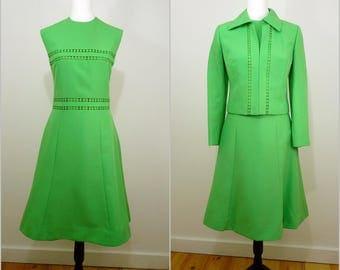 VINTAGE 1960s Retro Chic Apple Green Dress & Jacket Mod Suit UK 10 Fr 38 / Cut out spots / Schworm Modell / Pop / So Stylish