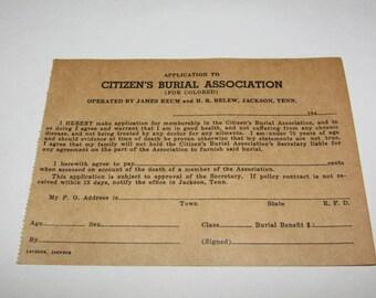 Vintage 1940s Black Americana Ephemera, Burial Application, Vintage Paper, Jackson Tennessee, Funeral Home