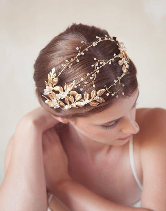 Golded leaves bridal headband, gold metal hair vine, gold wedding headpiece, garden bridal tiara, bridal headpiece, Grecian beaded crown