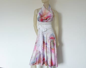 Set Skirt and Cowl Neck Top Satin Watercolor Print Tango Skirt US 6 and 8 EU 36/38 Tango Jupe  Milonga Dance Wear  adorable Tango Robe