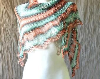 Peach and Mint Hand Knit Shawl, Hand Knit Shawl, Ombre Knit Shawl, Summer Knit Shawl, Lightweight shawl, Summer wrap, Pastel clothing