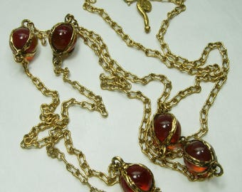 1980s Glass Pools of Light Sautoir Couture Necklace Signed Mr. We