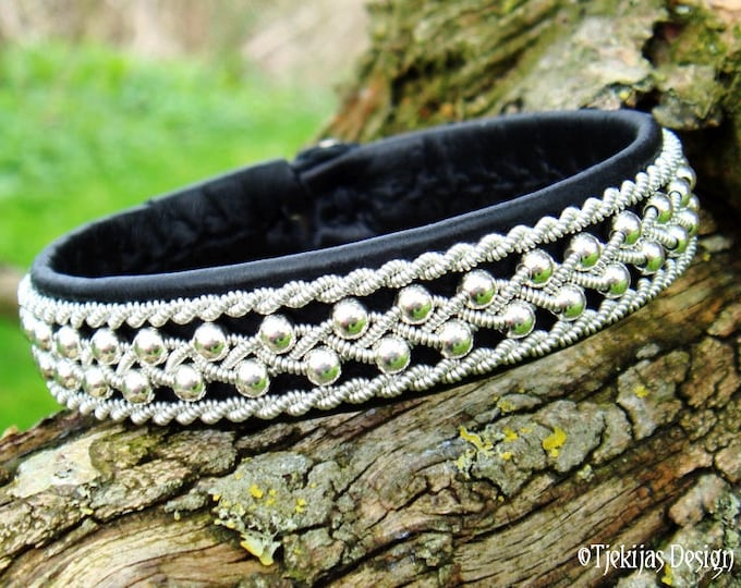 Sami Bracelet, Swedish Viking Lapland Bracelet Cuff, ROSKVA Black Leather with Sterling silver beads and Pewter Braid