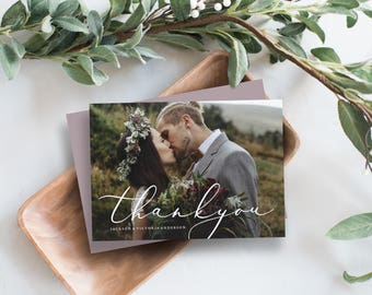 Editable Template - In Love Wedding Thank You Photo Card