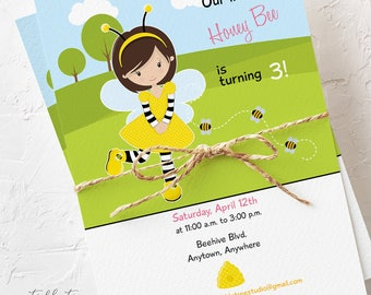 Birthday Party Invitations - Our Little Honey Bee, Girl's Birthday (Style 13375)