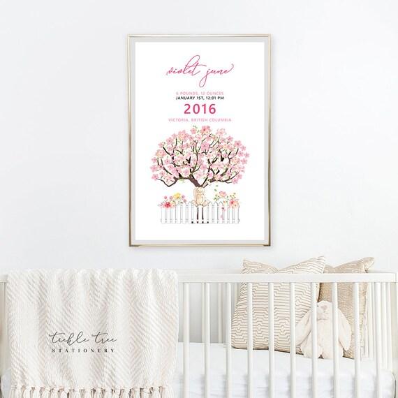 Art Print - Birth Poster, Cherry Blossoms Tree (W00023)
