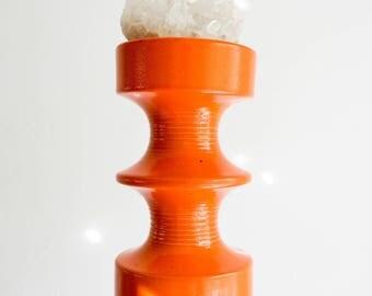 Vintage Orange Steuler Ceramic Fat Lava Candle Holder // Bohemian Mid Century Modern Home Decor