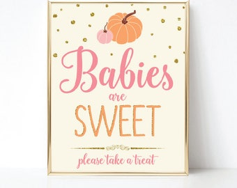 Little Pumpkin Baby Shower Favors Sign, Babies Are Sweet Please Take a Treat Sign, Baby Girl Shower, Pink Gold, Printable INSTANT DOWNLOAD