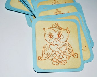 Owl baby shower tags. Blue. Boy.  wise heart wishing cards. vintage inspired. favor gift tags. woodland. primitive. rustic.