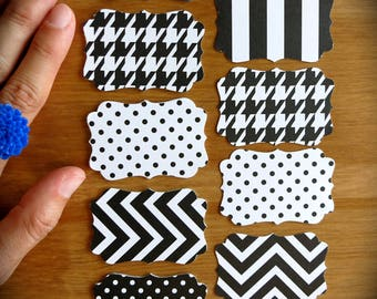 Chic Black & White French Scrolled Gift Tags-Lot of 25 Blank Labels-Polka Dots, Chevrons, Houndstooth, Nautical Stripes-Wedding Placecards